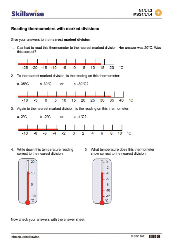 Reading thermometers with marked divisions