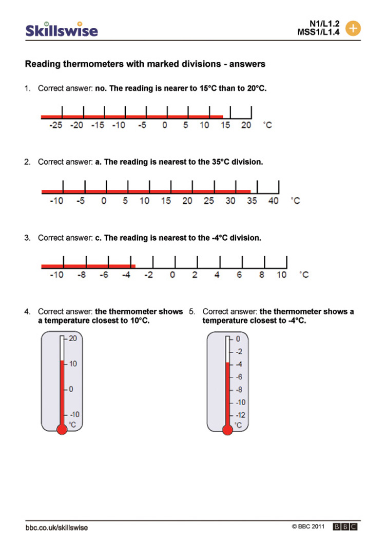 worksheet Thermometer Worksheet reading thermometers with marked divisions temperature divisions