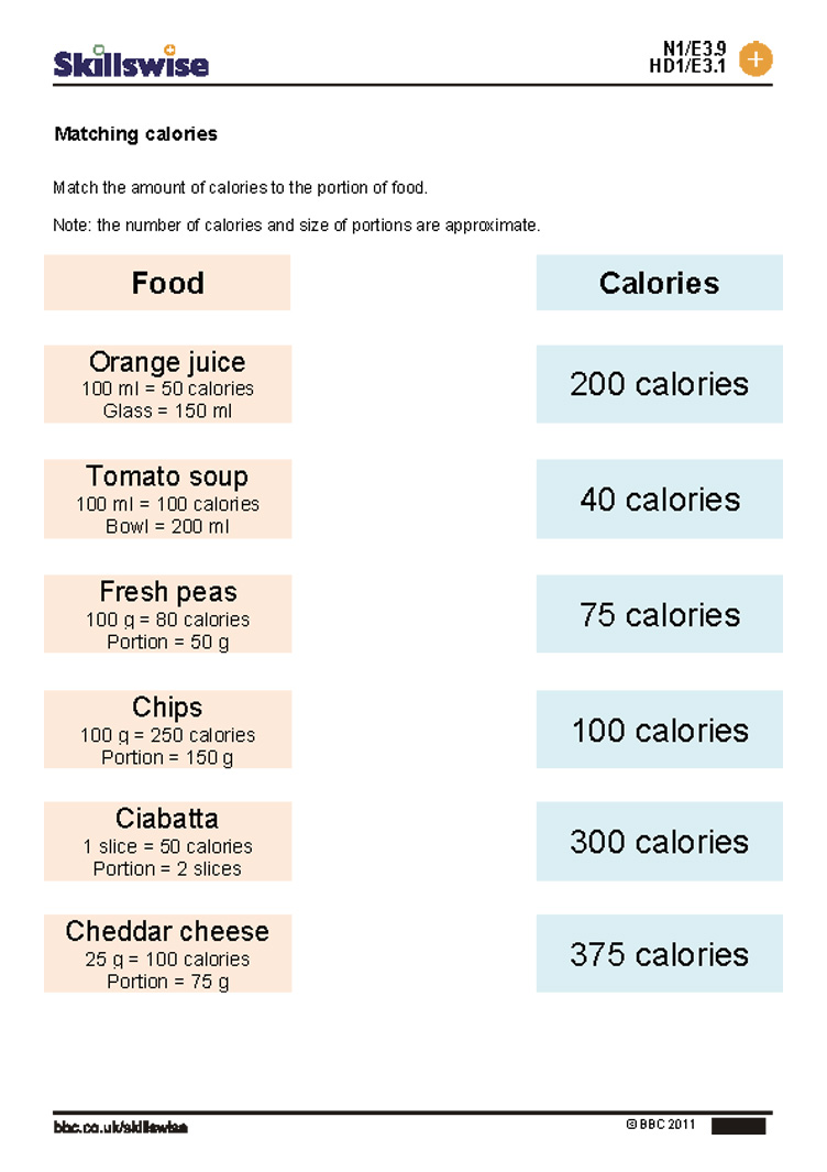 Worksheets Calorie Worksheet matching calories calories