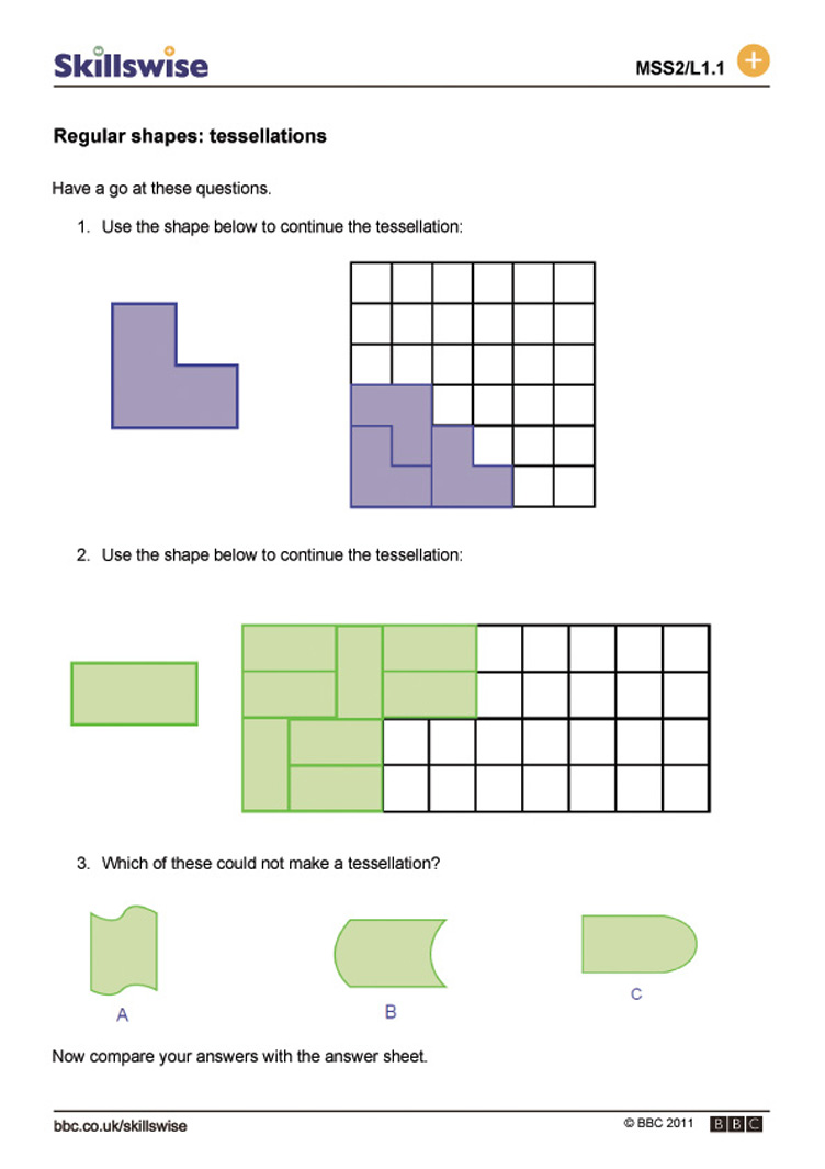 {Regular shapes tessellations – Tessellations Worksheet