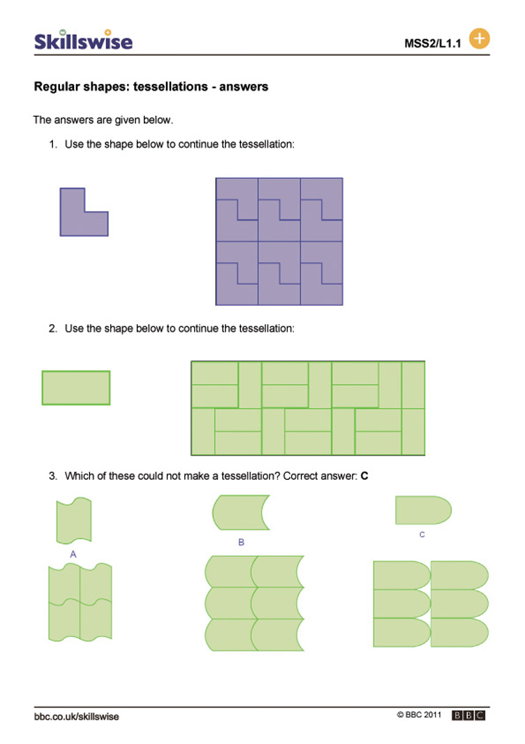 Regular shapes tessellations – Tessellations Worksheet