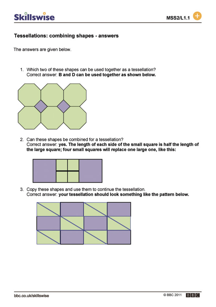 Worksheet Tessellations Worksheet tessellations combining shapes