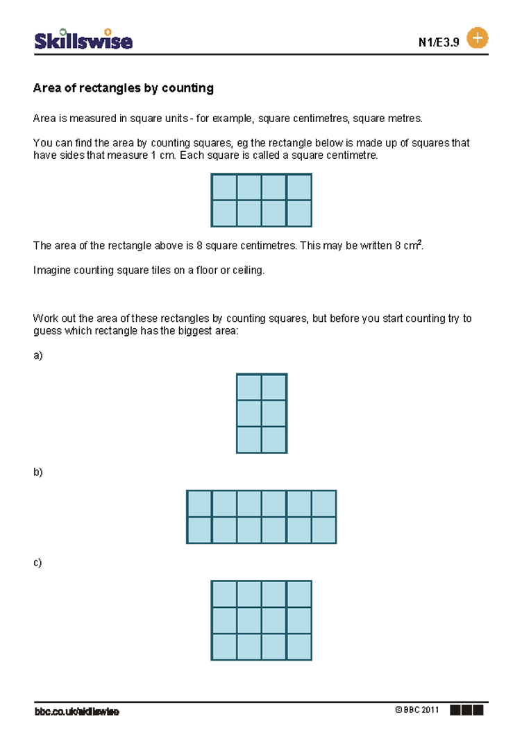 Area Of Rectangles By Counting