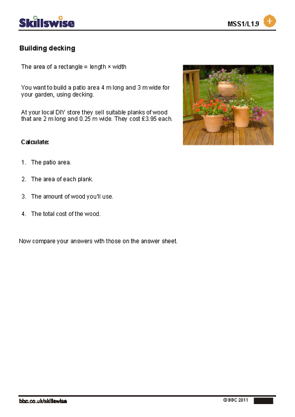 Areas of shapes worksheet preview