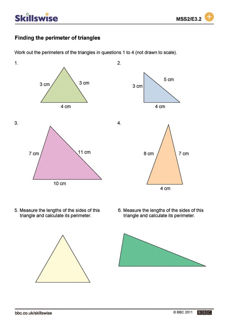 Worksheets Triangle Worksheet finding the perimeter of triangles worksheet preview
