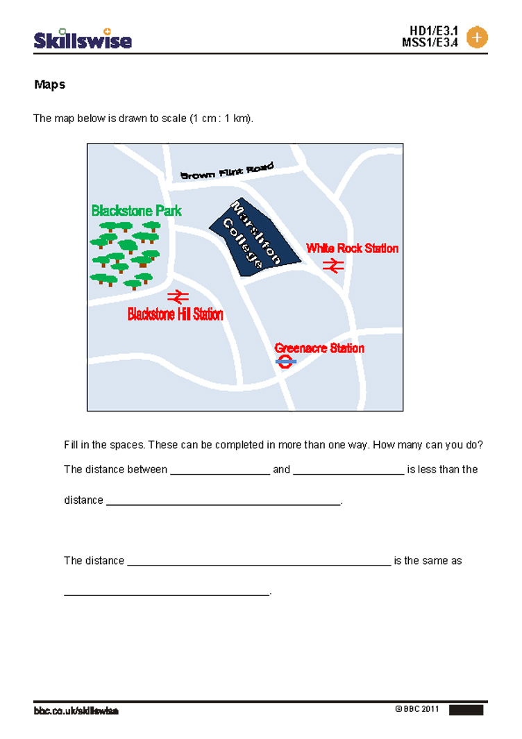 Maps exercise – Reading a Map Worksheet