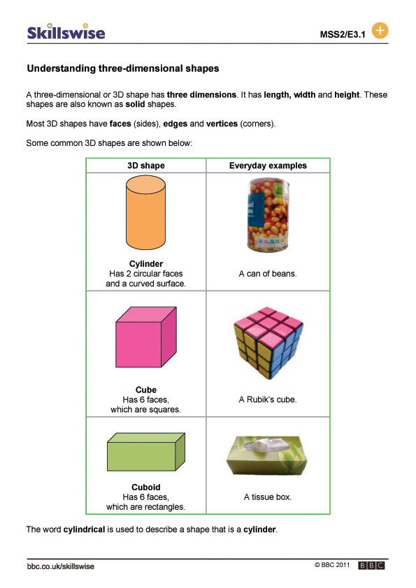 Understanding Three Dimensional Shapes