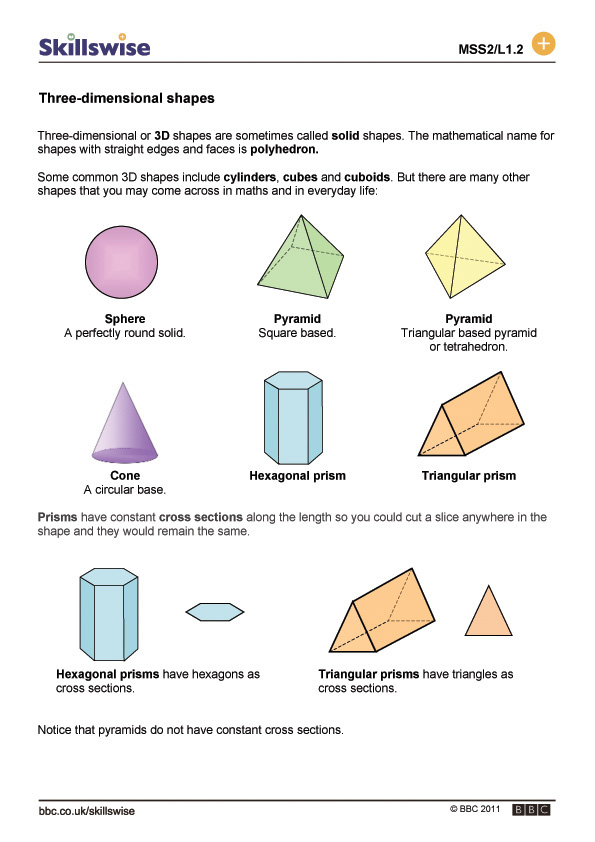 Worksheet Three Dimensional Shapes Worksheets three dimensional shapes