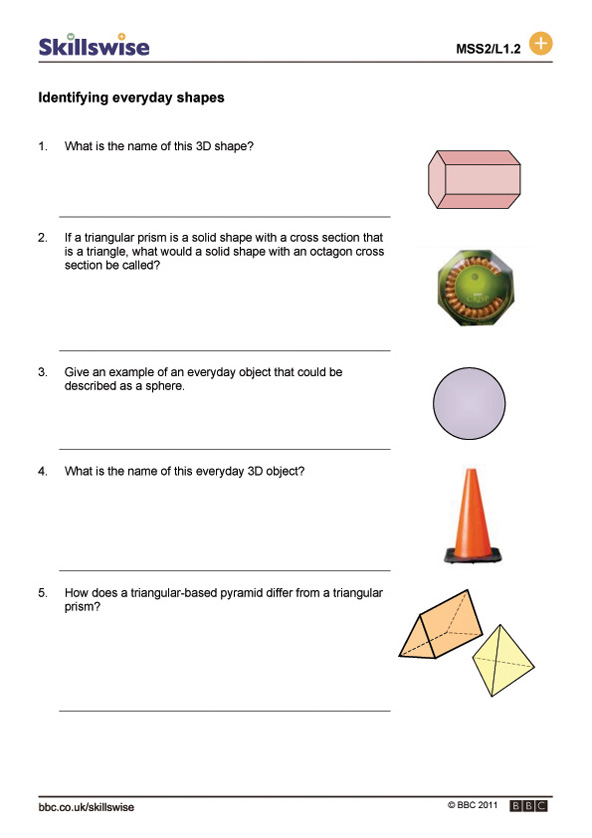 shapes worksheet preview