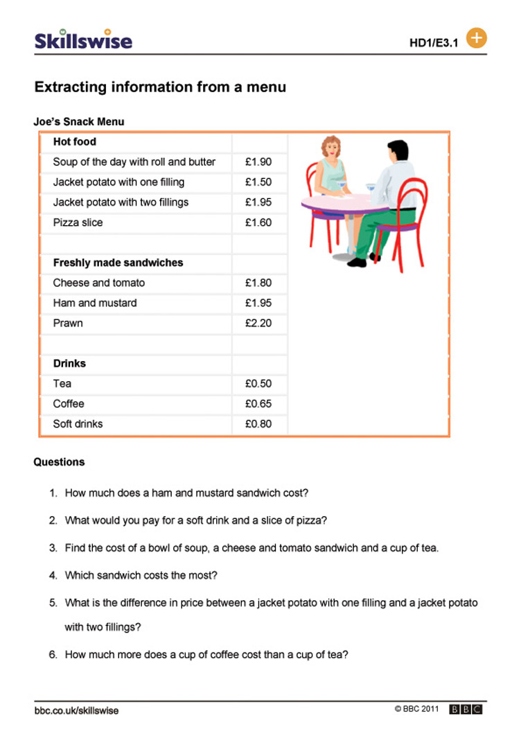 Menu Worksheets - Pichaglobal