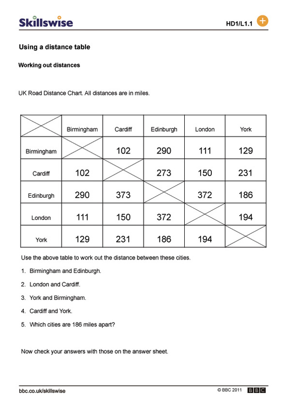 Using a distance table