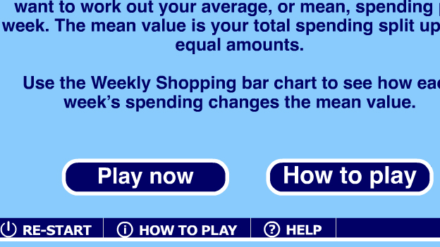 Click to play 'Shopping averages game'