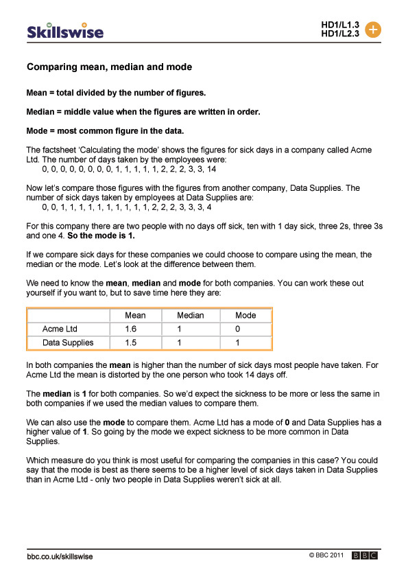 Worksheets Mean Median Mode Worksheets Pdf comparing mean median and mode