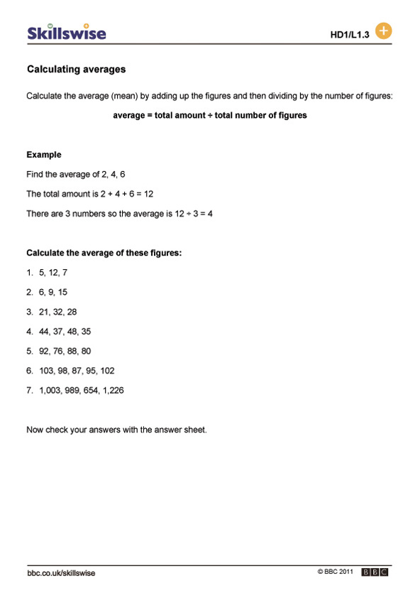 ma38averl1wcalculatingaverages592x838jpg – Calculating Work Worksheet