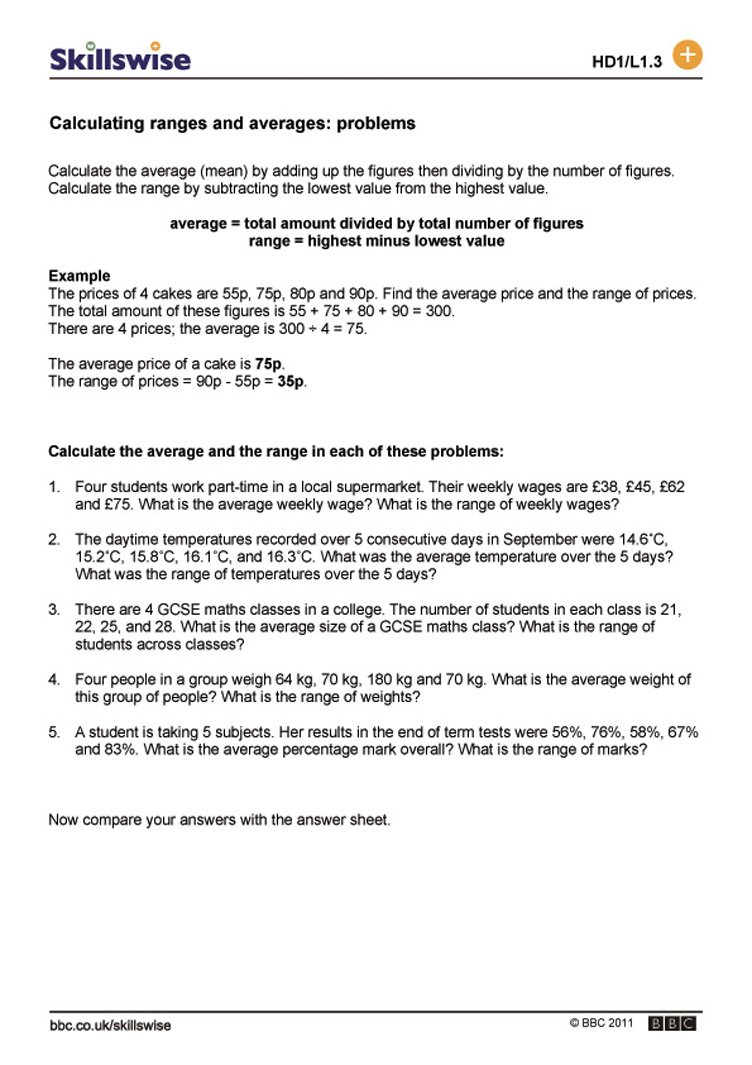 Calculating ranges and averages problems – Work Problems Worksheet