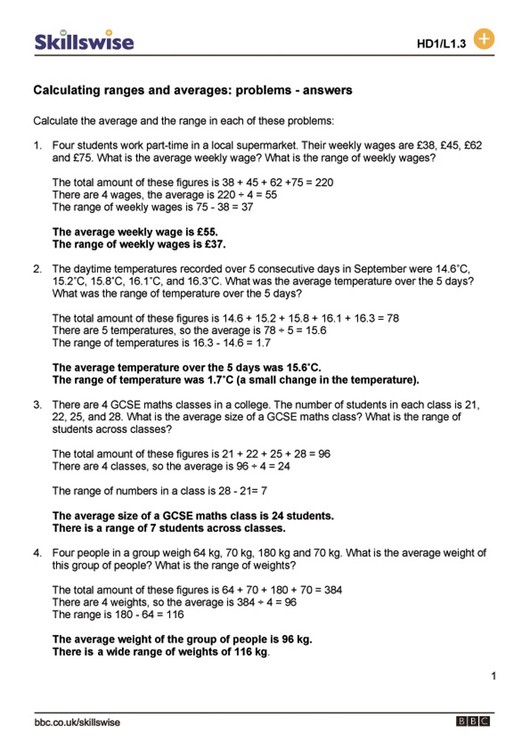 Calculating ranges and averages problems – Decimal Word Problems Worksheet