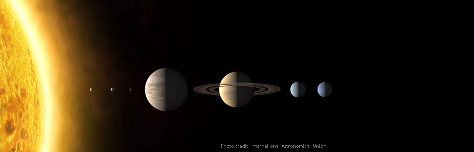 An illustration of the Sun and planets