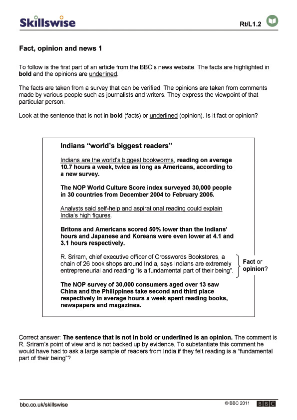 Fact-or-opinion-worksheet & Immigration: Fact Or Opinion?