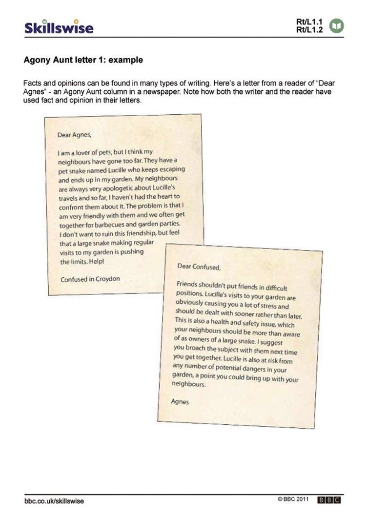 Agony Aunt letter 1: example