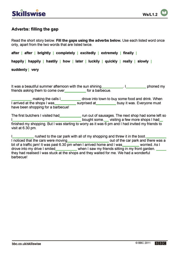 Workbooks story writing worksheets for grade 1 : Adverbs: filling the gap