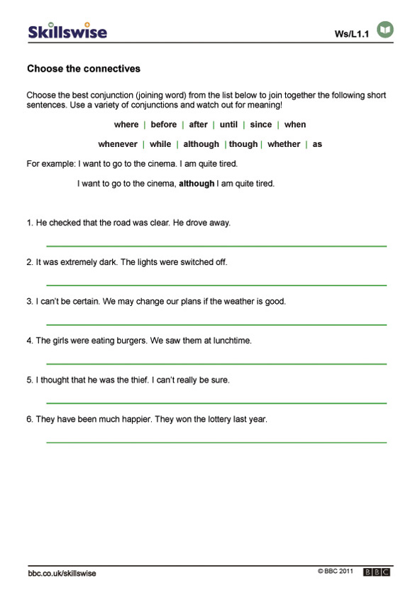 Printable Worksheets conjunctions worksheets for kids : en28conn-l1-w-choose-the-connectives-592x838.jpg