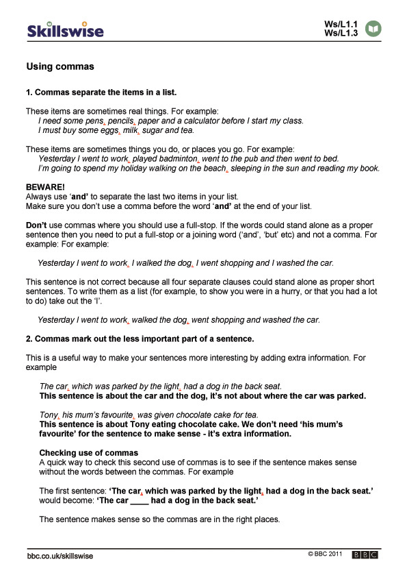 Printable Worksheets punctuation rules worksheets : en29punc-l1-f-when-to-use-commas-560x792.jpg
