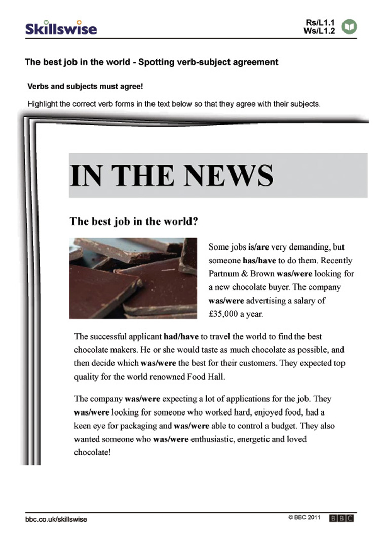 Workbooks worksheets jobs : The best job in the world - Spotting verb-subject agreement
