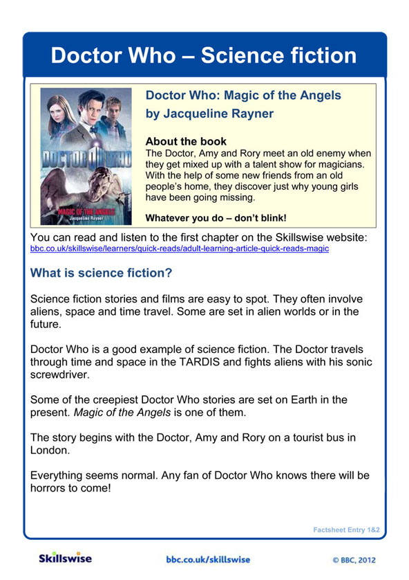 Printable Worksheets fiction writing worksheets : Doctor Who - Science fiction