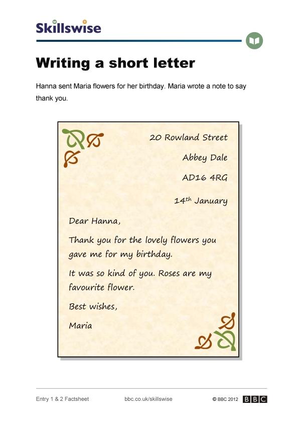 en11lett e1 f writing a short