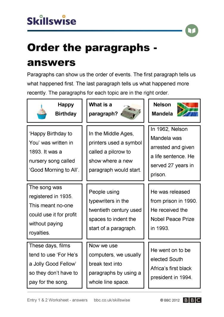 Workbooks order of events worksheets : Order the paragraphs