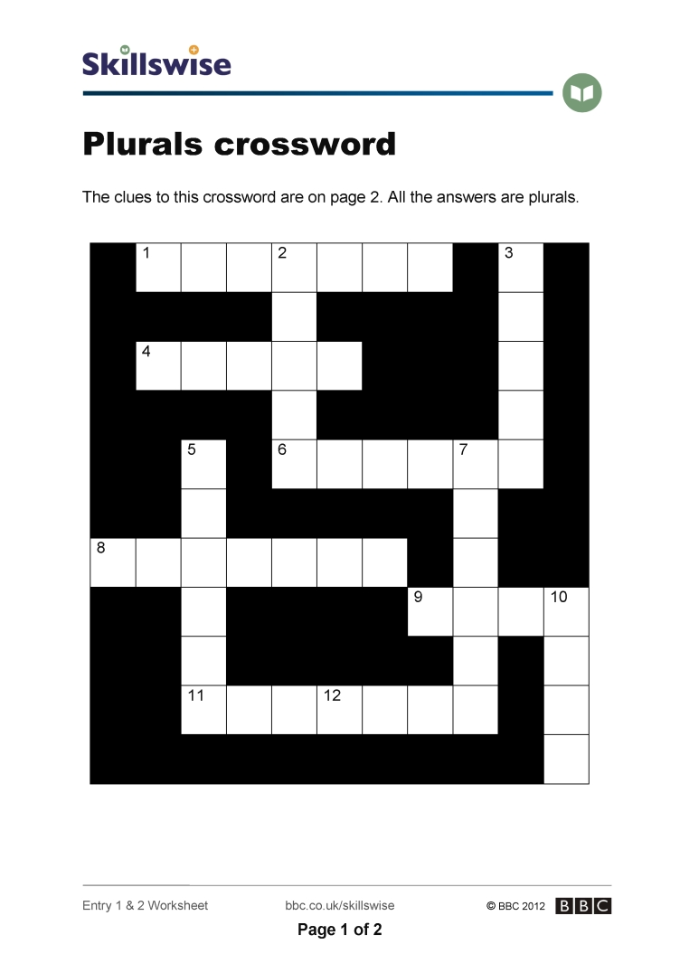 Workbooks making words plural worksheets : Plurals crossword