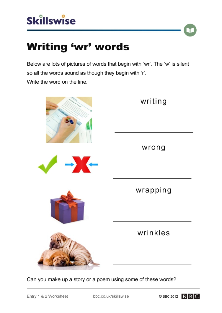 Workbooks story writing worksheets for grade 1 : Writing 'wr' words
