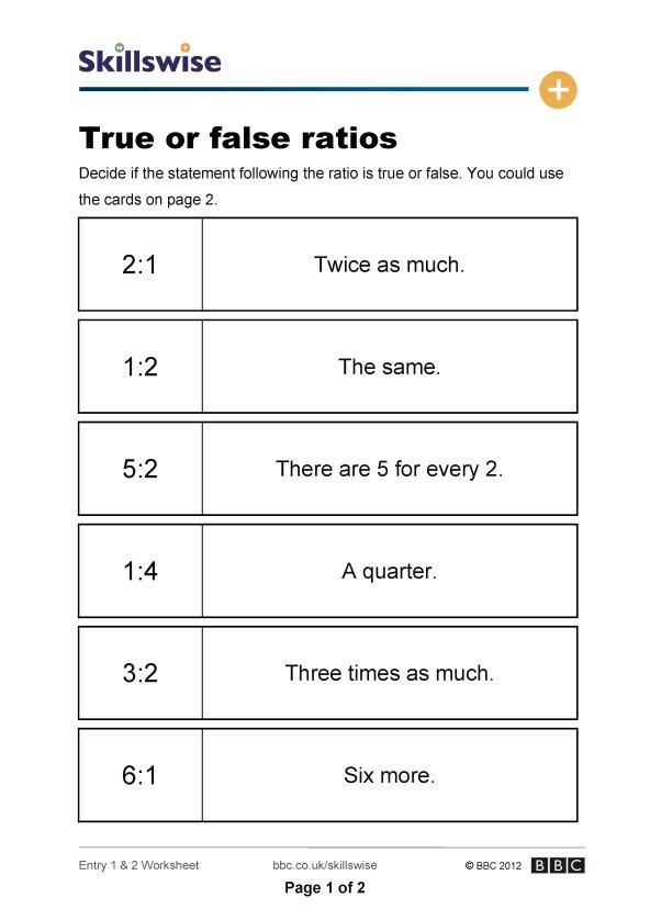 Printable Worksheets ratio proportion and percent worksheets : True or false ratios