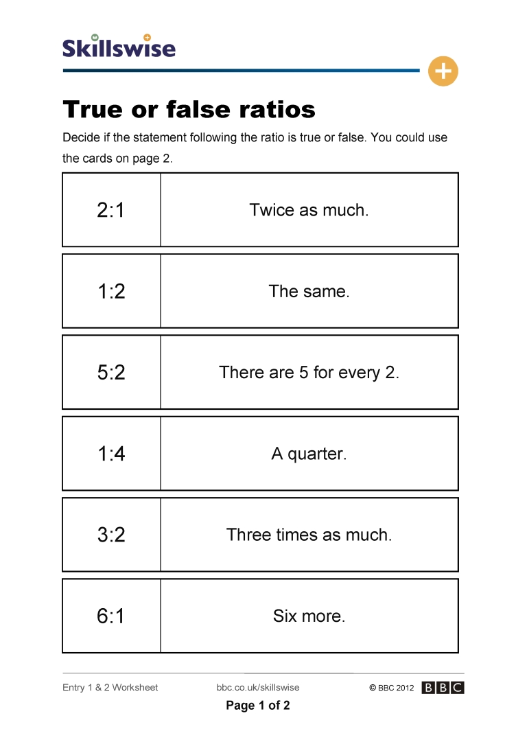 Workbooks ratio worksheets year 5 : ma19rati-e1-e2-w-true-or-false-ratios-752x1065.jpg