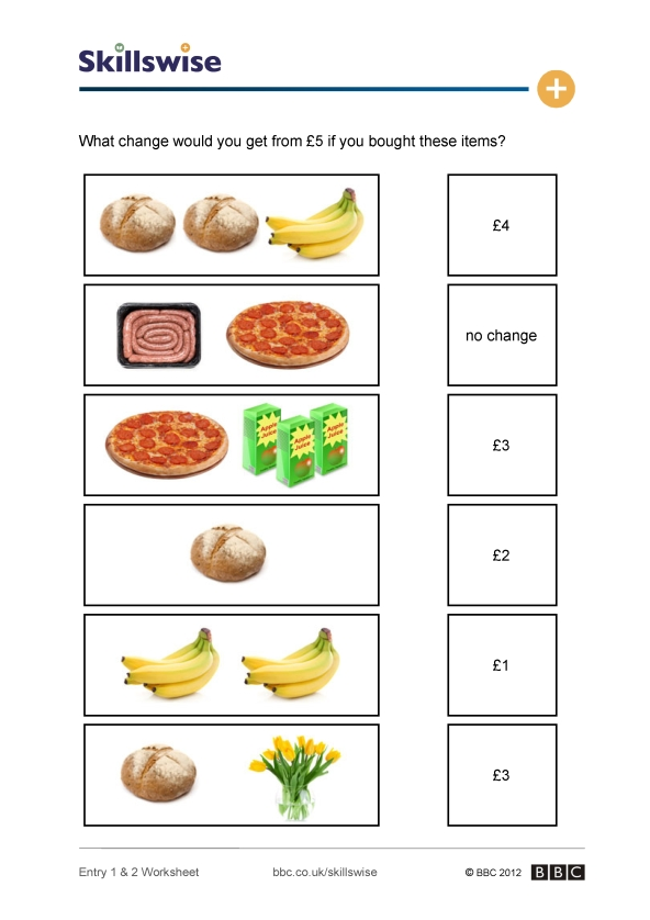 Printable Worksheets money change worksheets : What can you get for a fiver?