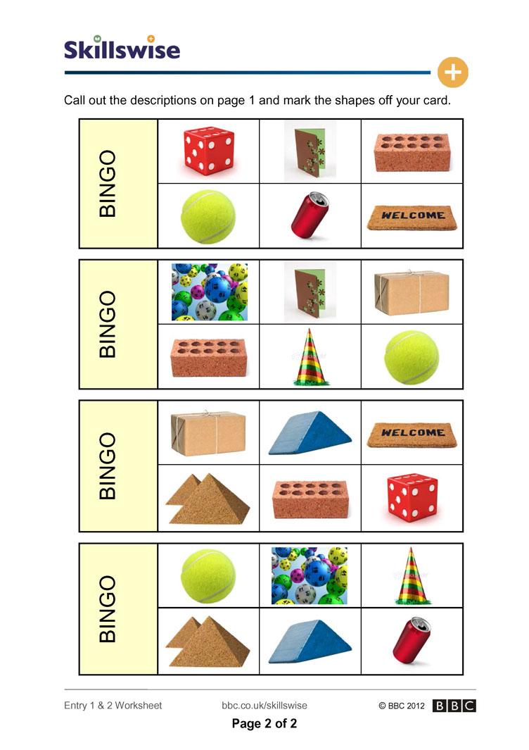 Workbooks sh worksheets : Shape bingo
