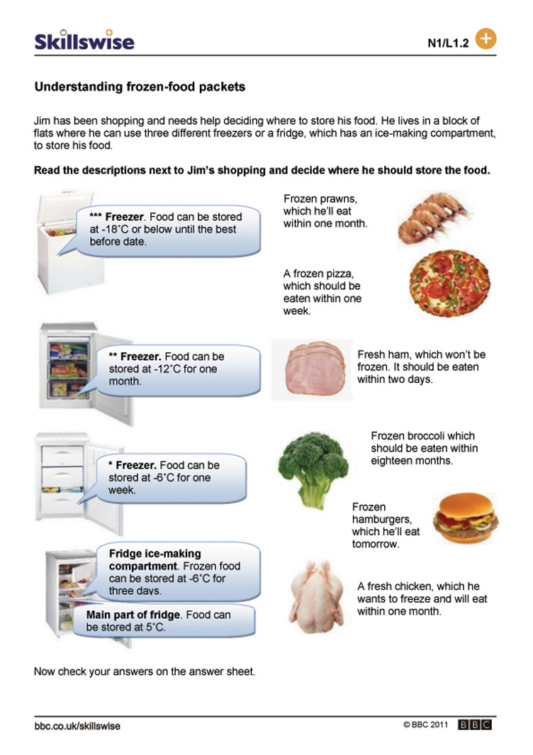 Workbooks negative number worksheets : Understanding frozen-food packets