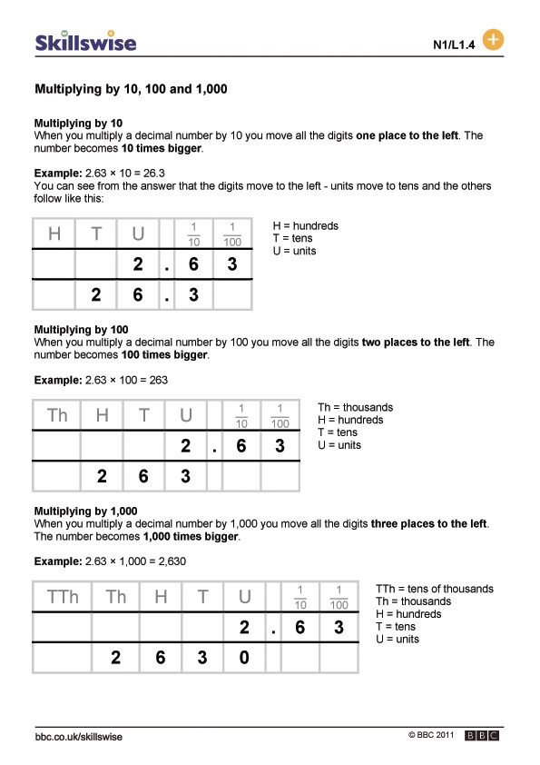 Printable Worksheets multiplying decimals and whole numbers worksheets : by 10, 100 and 1,000