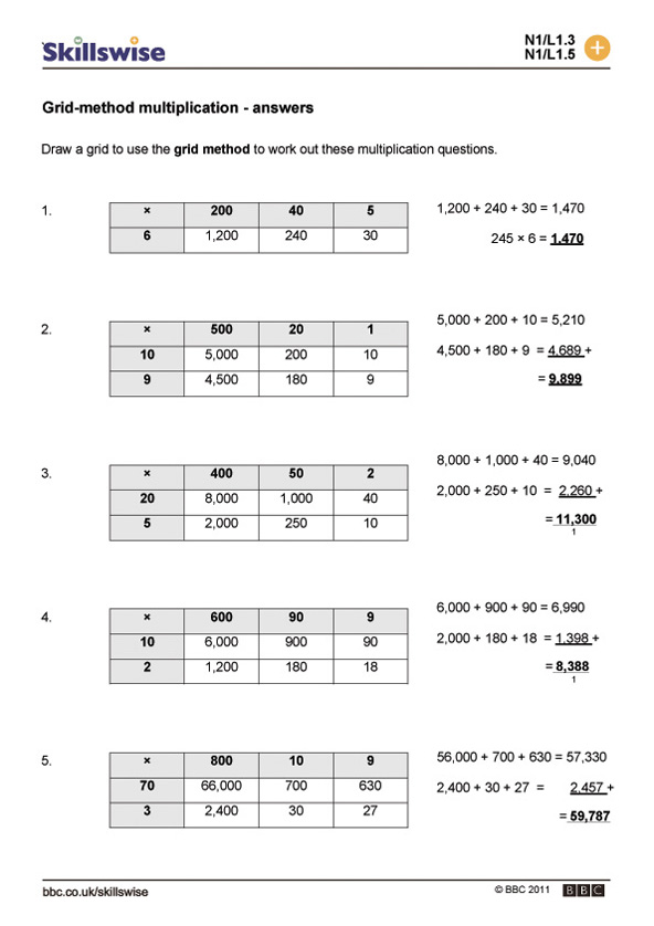Grid-method multiplication