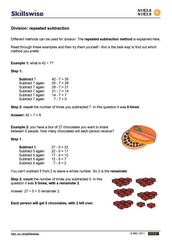 Division Worksheets division worksheets year 2 : repeated subtraction