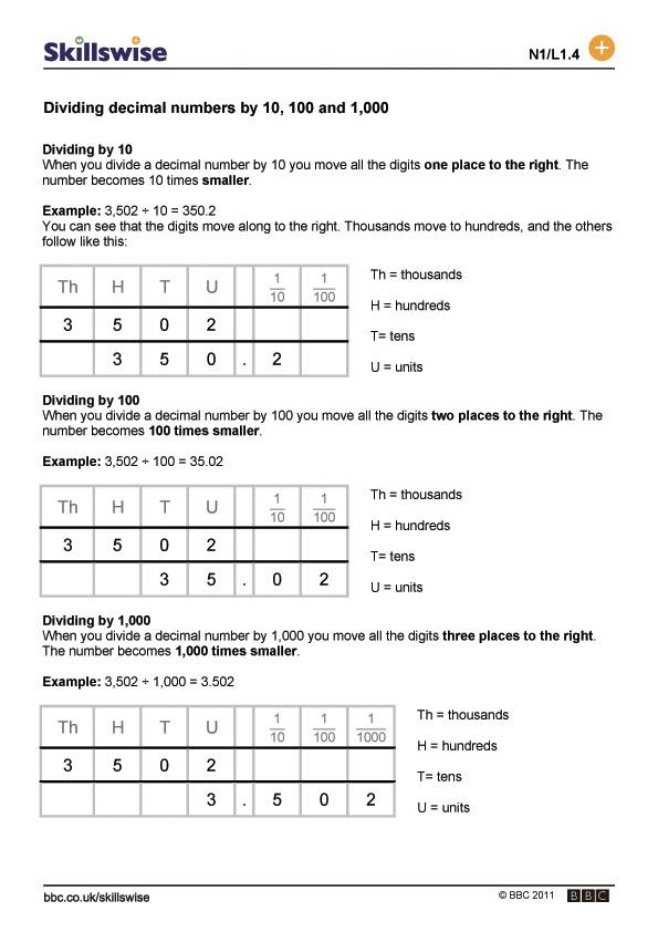 Printable Worksheets multiplying decimals and whole numbers worksheets : decimal numbers by 10, 100 and 1,000