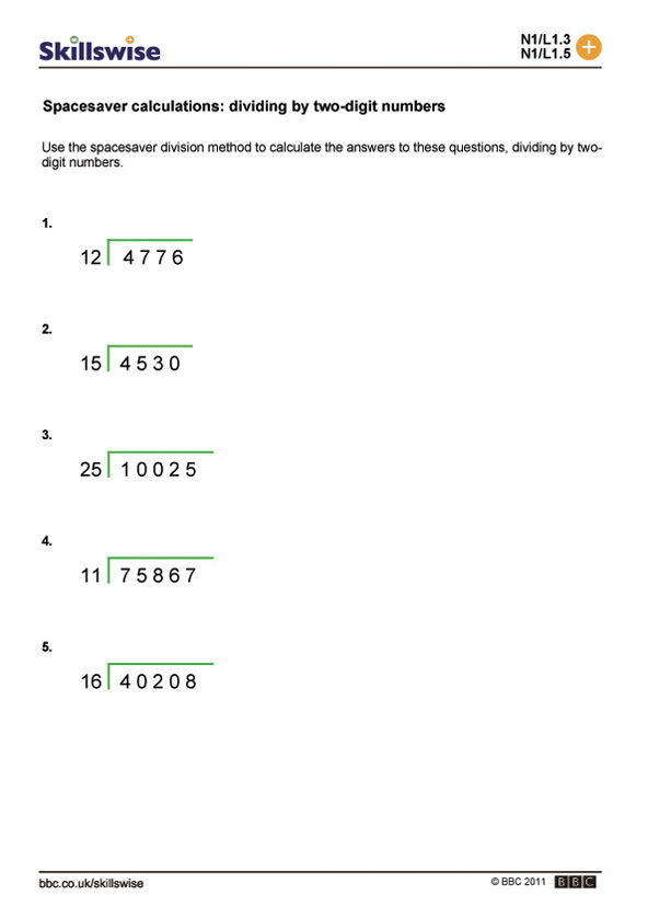 Printable Worksheets divide worksheets : Spacesaver calculations: dividing by two-digit numbers