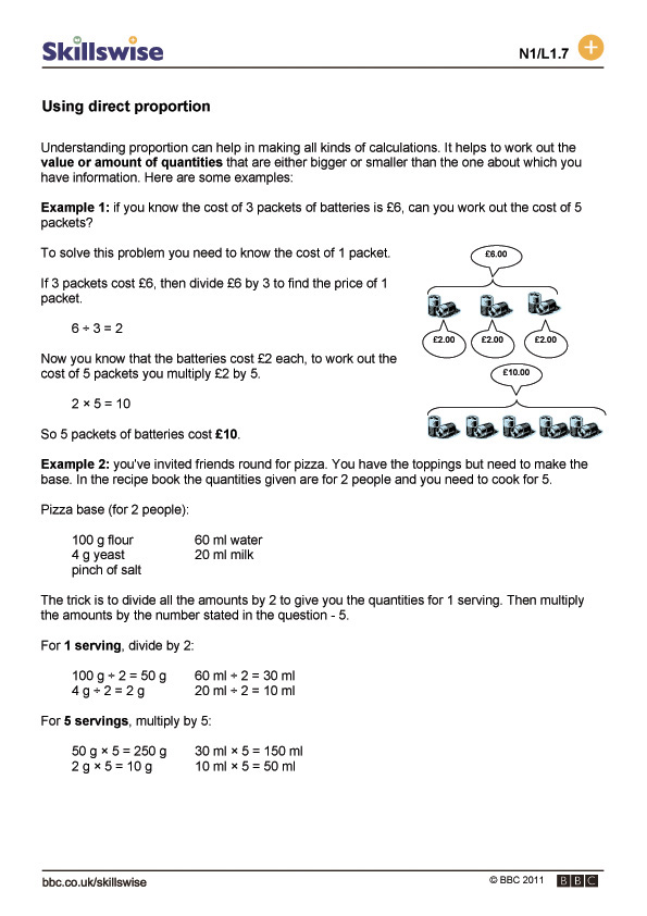 Printable Worksheets worksheets on proportions : ma19rati-l1-f-using-direct-proportion-560x792.jpg