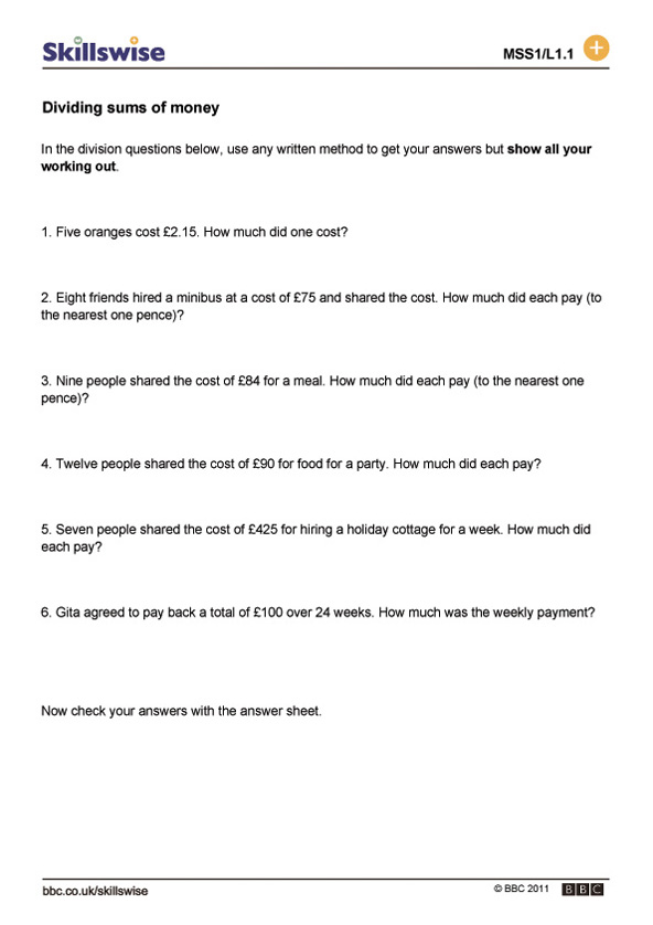 Printable Worksheets worksheets money : ma26mone-l1-w-dividing-money-592x838.jpg