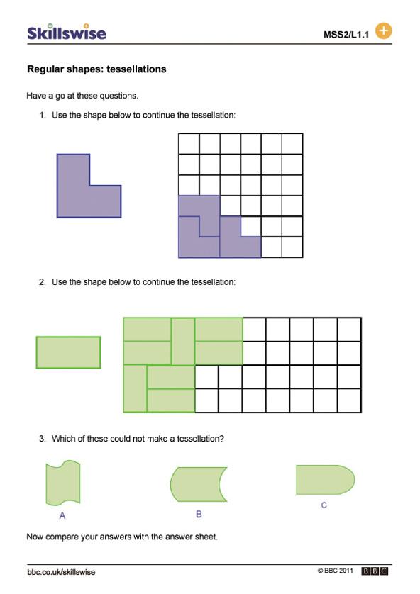 Printable Worksheets 2 d shapes worksheets : Regular shapes: tessellations