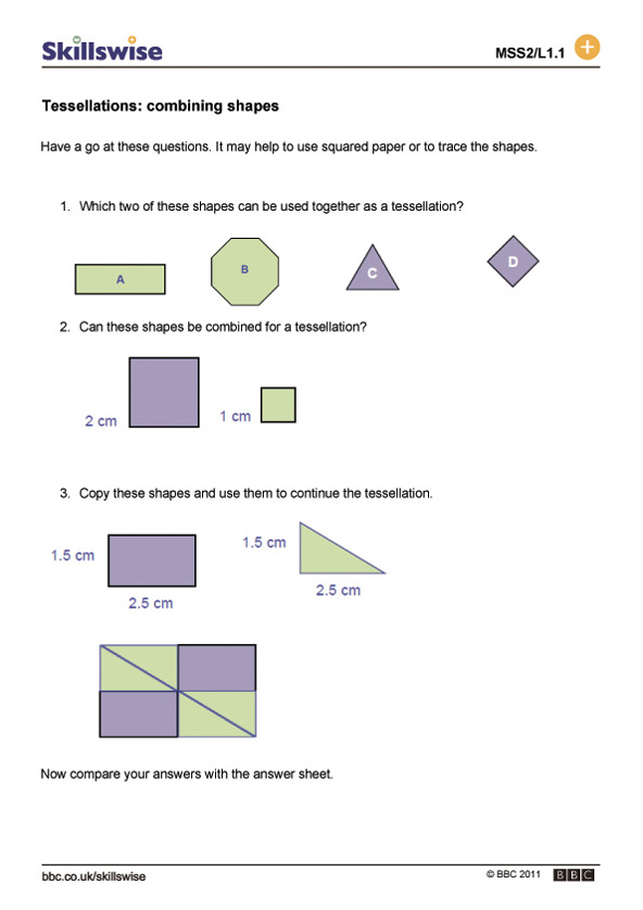 Printable Worksheets 2 d shapes worksheets : Tessellations: combining shapes